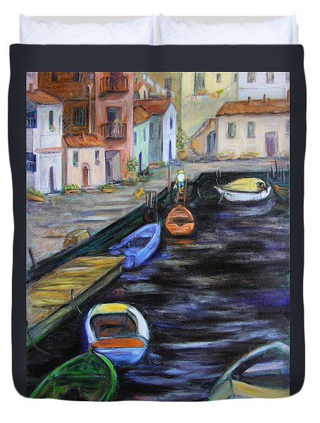 Duvet Cover featuring the painting Boats In Front Of The Buildings IIi by Xueling Zou