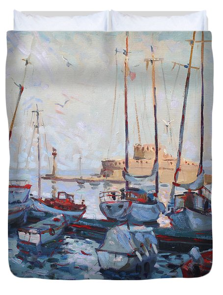 Boats In Rhodes Greece  Duvet Cover by Ylli Haruni
