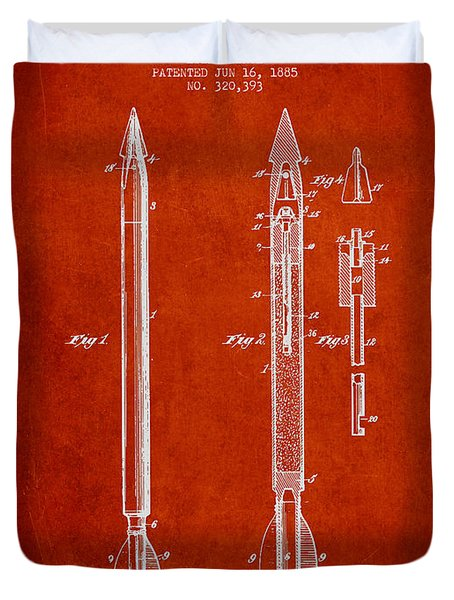 Bomb Lance Patent Drawing From 1885 Duvet Cover by Aged Pixel