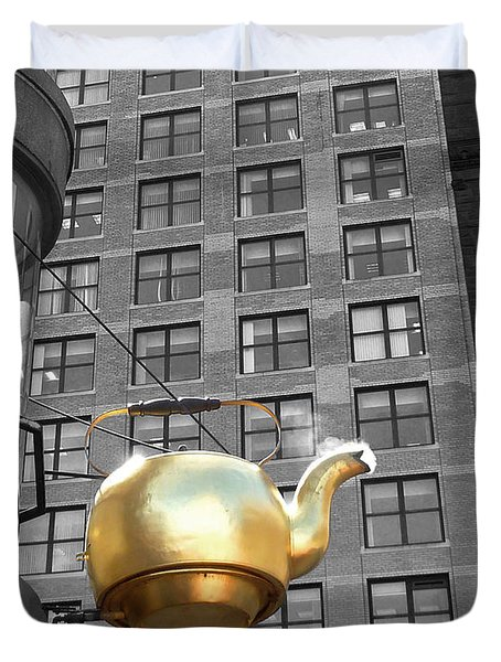 Duvet Cover featuring the photograph Boston Golden Teapot by Cheryl Del Toro