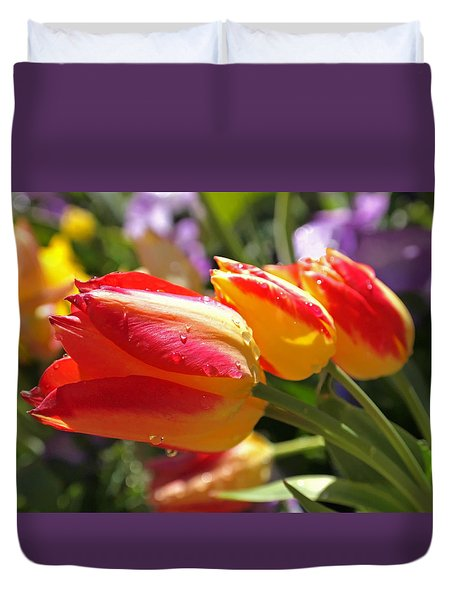 Bowing Tulips Duvet Cover by Rona Black