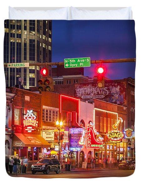 Duvet Cover featuring the photograph Broadway Street Nashville by Brian Jannsen
