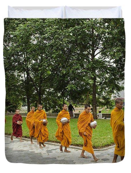 Buddhist Monks In Battambang Cambodia Duvet Cover