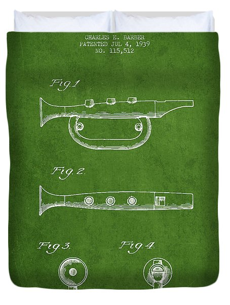 Bugle Call Instrument Patent Drawing From 1939 - Green Duvet Cover by Aged Pixel
