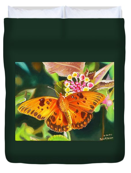 Duvet Cover featuring the painting Butterfly And Lantana by Phyllis Beiser