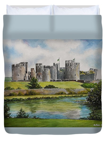 Caerphilly Castle  Duvet Cover by Andrew Read