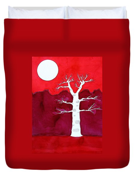 Canyon Tree Original Painting Duvet Cover by Sol Luckman