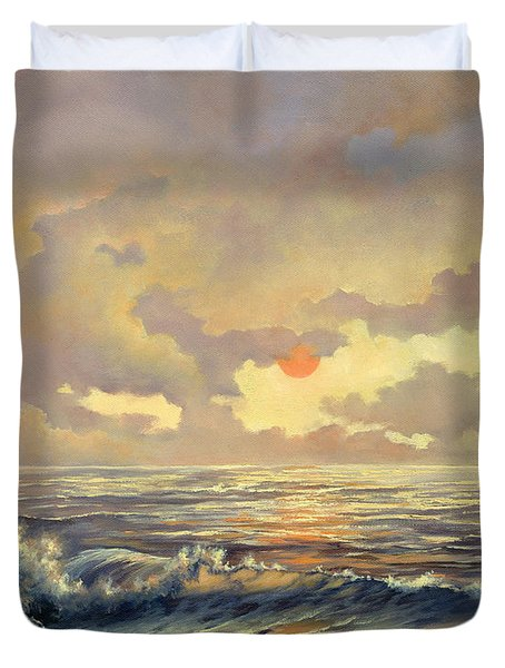 Duvet Cover featuring the painting Cappuccino Bay by Lynne Wright