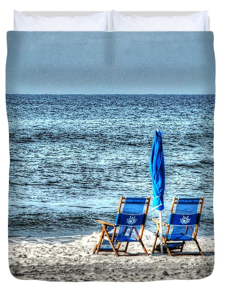 Duvet Cover featuring the digital art 2 Chairs And Umbrella by Michael Thomas