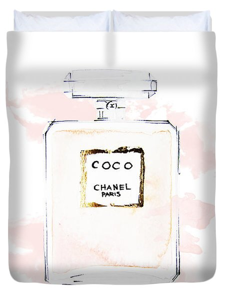 Chanel Perfume, Watercolor Fashion Illustration  Duvet Cover