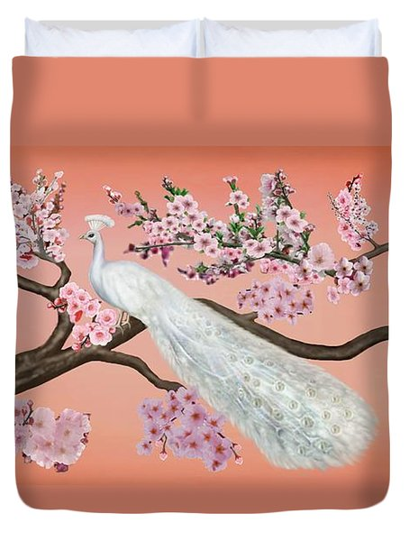 Cherry Blossom Peacock Duvet Cover by Glenn Holbrook