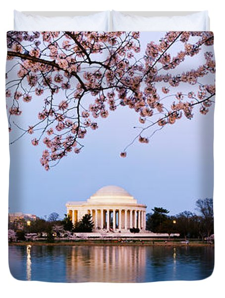 Cherry Blossom Tree With A Memorial Duvet Cover by Panoramic Images