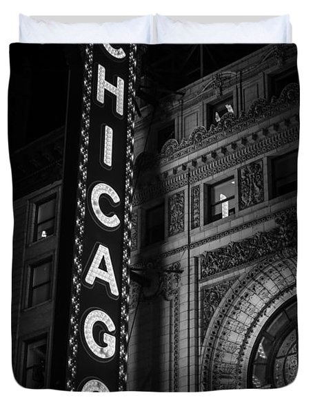 Chicago Theatre Sign In Black And White Duvet Cover