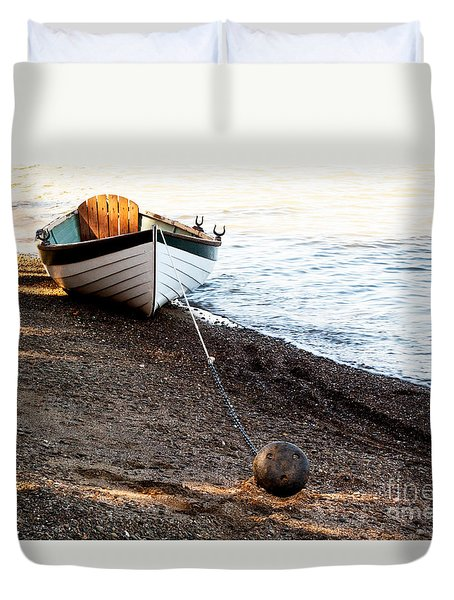 China Beach Rowboat Duvet Cover by Roselynne Broussard