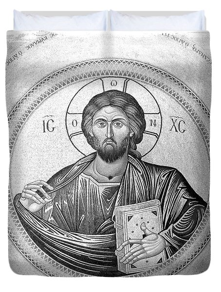 Christ Pantocrator In Black And White -- Church Of The Holy Sepulchre Duvet Cover by Stephen Stookey