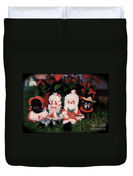 Duvet Cover featuring the photograph Christmas Dolls  by The Art of Alice Terrill