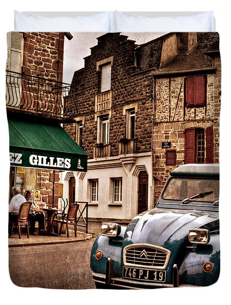 Duvet Cover featuring the photograph Citroen 2cv In French Village / Meyssac by Barry O Carroll