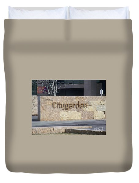 Duvet Cover featuring the photograph City Garden by Kelly Awad