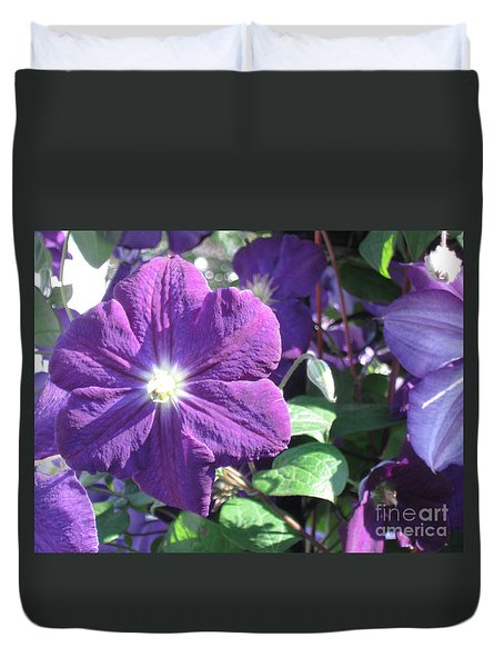 Clematis With Blazing Center Duvet Cover