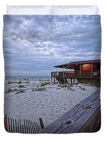 Duvet Cover featuring the painting Cloudy Morning At The Sea N Suds by Michael Thomas