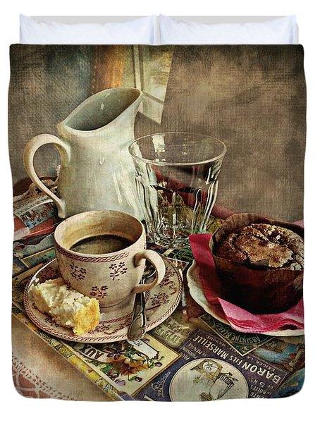 Coffee Time Duvet Cover by Barbara Orenya