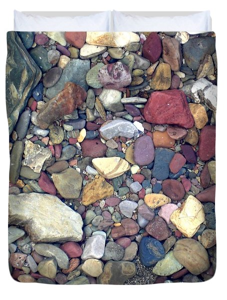 Colorful Lake Rocks Duvet Cover
