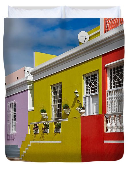 colourful buildings in Bo-Kaap Duvet Cover by Juergen Ritterbach