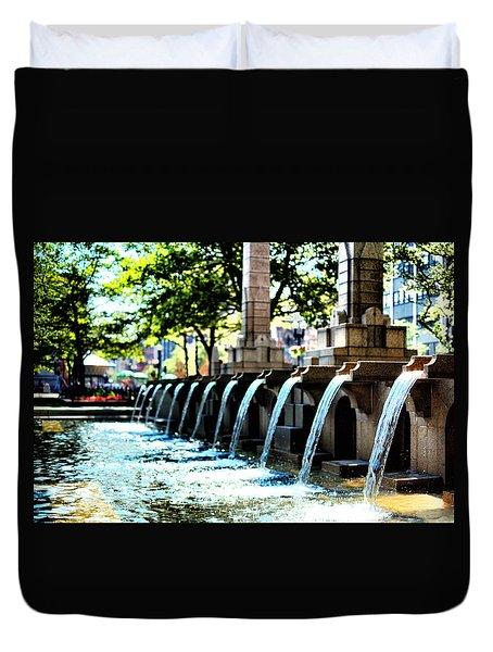 Copley Square Fountain In Boston Duvet Cover