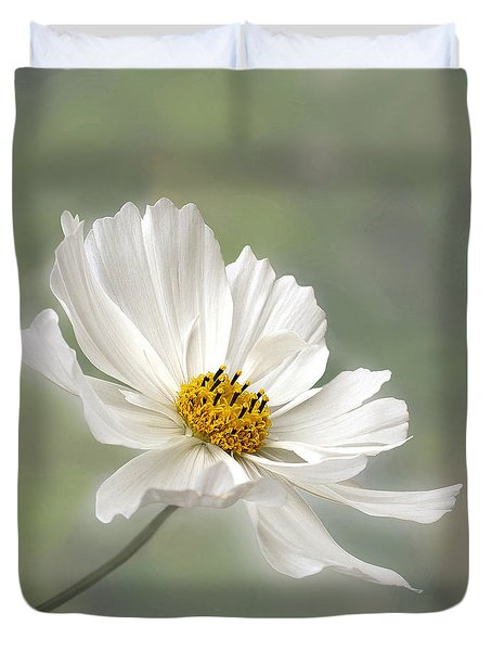 Cosmos Flower In White Duvet Cover by Kaye Menner