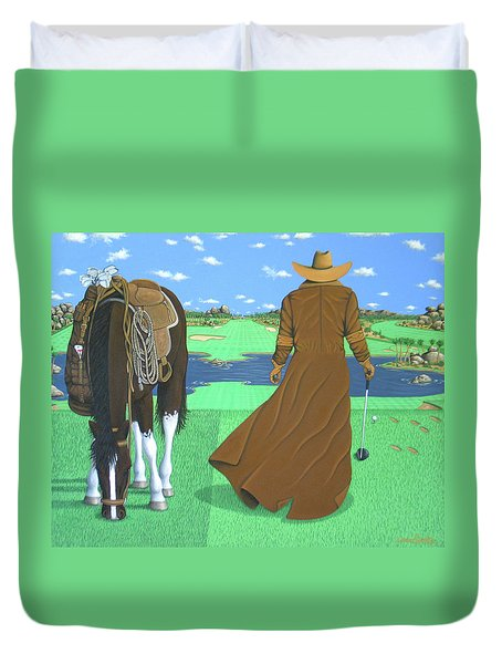 Cowboy Caddy Duvet Cover by Lance Headlee