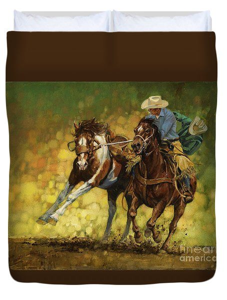 Rodeo Pickup Duvet Cover by Don  Langeneckert