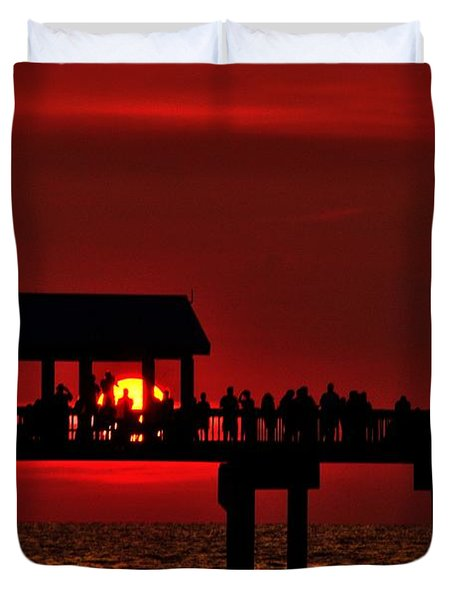 Duvet Cover featuring the photograph Crimson Sunset by Richard Zentner