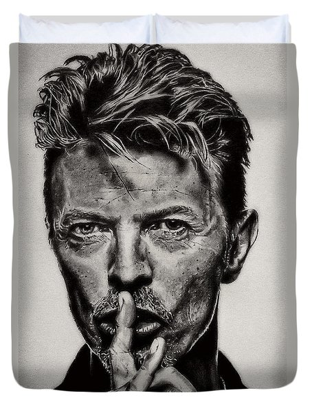 David Bowie - Pencil Abstract Duvet Cover
