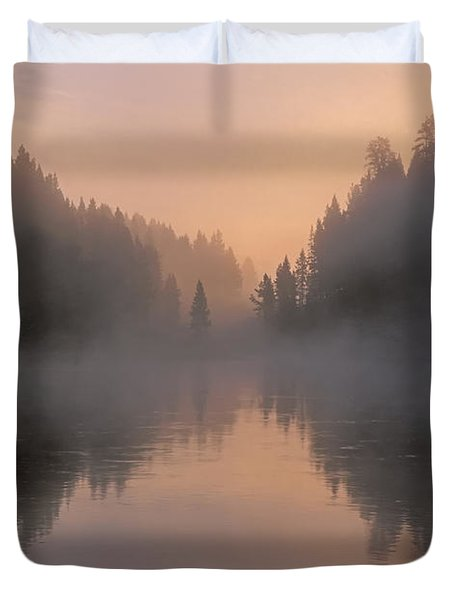 Dawn On The Yellowstone River Duvet Cover by Sandra Bronstein