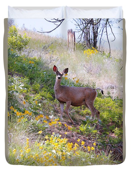 Deer In Wildflowers Duvet Cover by Athena Mckinzie