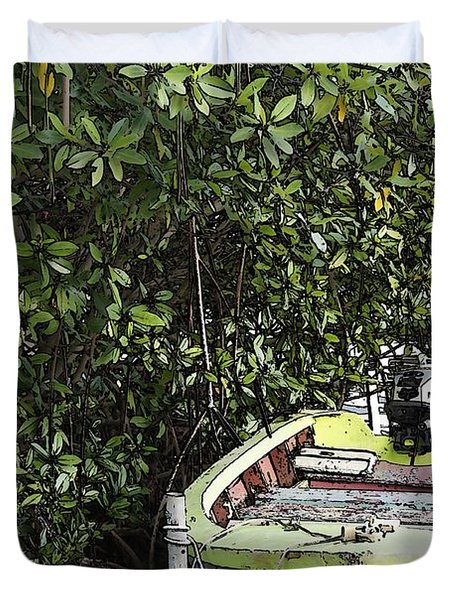 Duvet Cover featuring the photograph Docked By The Mangrove Trees by Lilliana Mendez