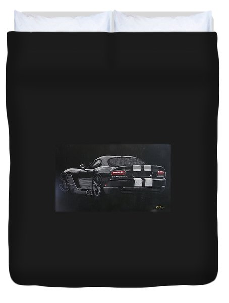 Duvet Cover featuring the painting Dodge Viper 1 by Richard Le Page