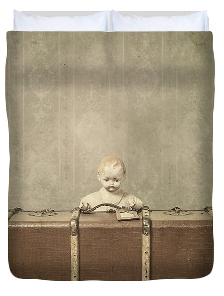 Doll In Suitcase Duvet Cover by Joana Kruse