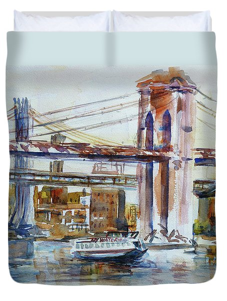 Duvet Cover featuring the painting Downtown Bridge by Xueling Zou