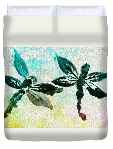 Duvet Cover featuring the digital art 2 Dragonflies Abstract by Frank Bright