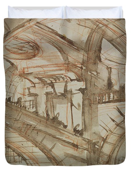 Drawing Of An Imaginary Prison Duvet Cover by Giovanni Battista Piranesi