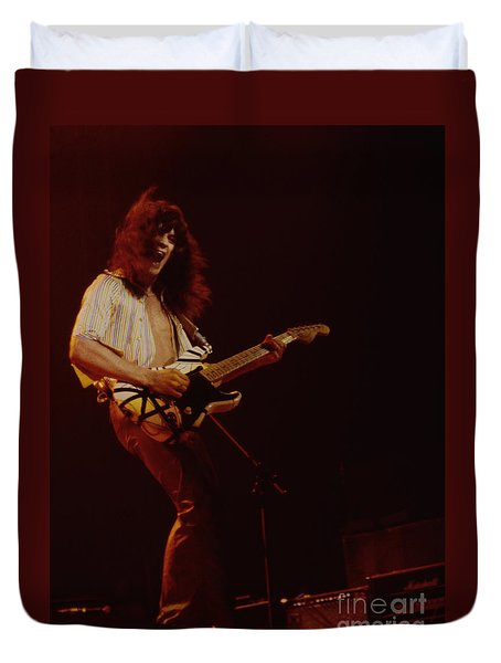 Eddie Van Halen - Van Halen At The Oakland Coliseum 12-2-1978 Rare Unreleased Duvet Cover by Daniel Larsen