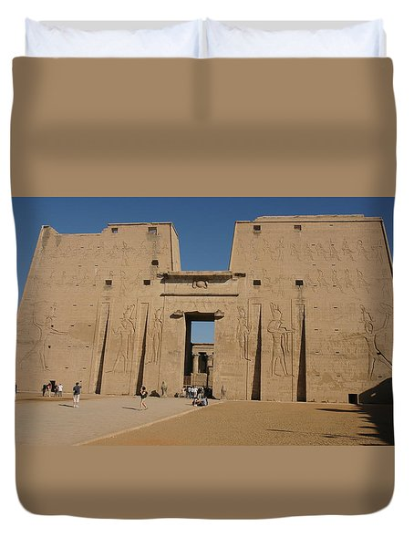 Duvet Cover featuring the photograph Edfu Temple by Christian Zesewitz