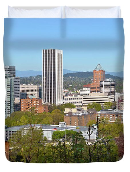 Elevated View Of Buildings In The City Duvet Cover