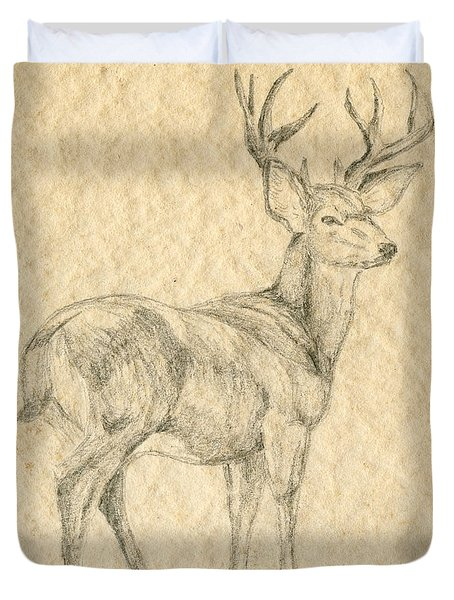 Duvet Cover featuring the drawing Elk by Mary Ellen Anderson