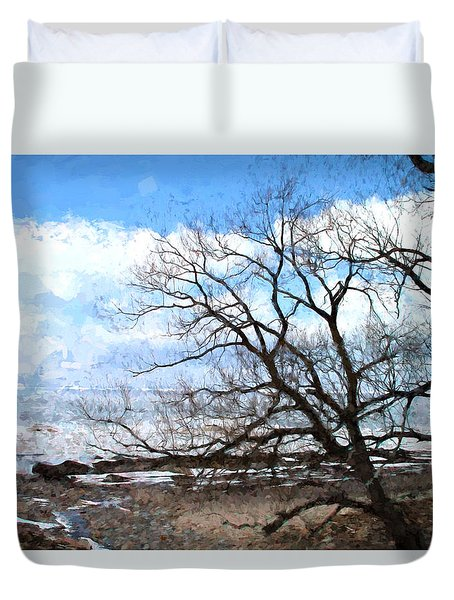 Erie Shore In Winter Duvet Cover