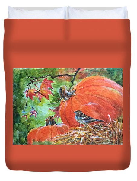 Duvet Cover featuring the painting Fall Is Here by Jieming Wang