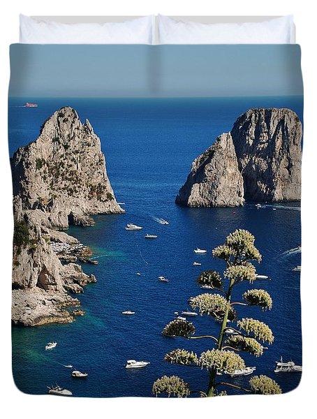 Faraglioni In Capri Duvet Cover