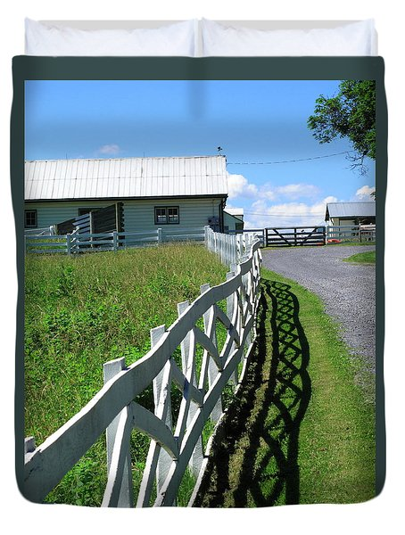 Farm And Fence Duvet Cover by Frank Romeo