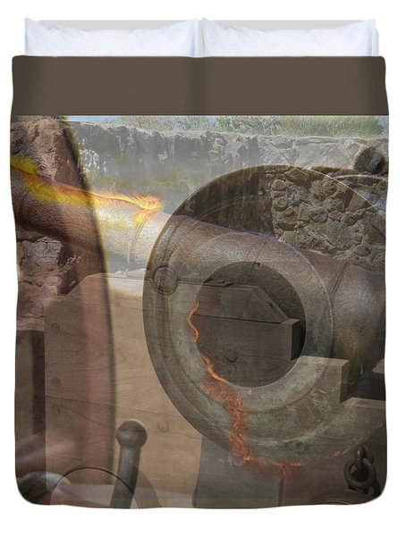 Duvet Cover featuring the photograph Fire In The Hole by Ella Kaye Dickey